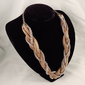 Gold and Silver Tone Metal Braid Weave Necklace